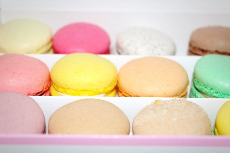 Close-Up Of Macaroons In Box