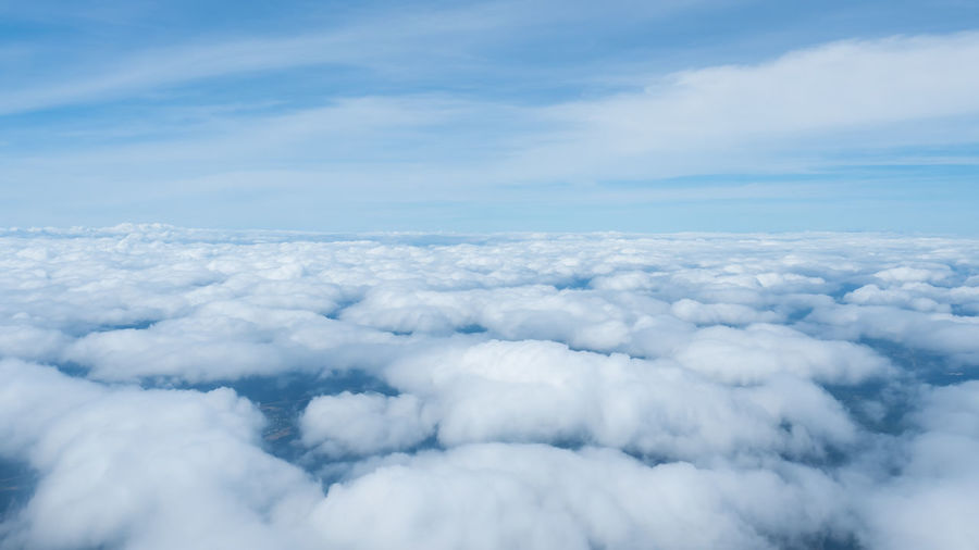 Above Aerial View Atmospheric Mood Backgrounds Beauty In Nature Blue Cloud - Sky Cloudscape Day Environment Fluffy Heaven Nature No People Outdoors Scenics Sky Sky Only Softness The Natural World Tranquil Scene Tranquility White Color