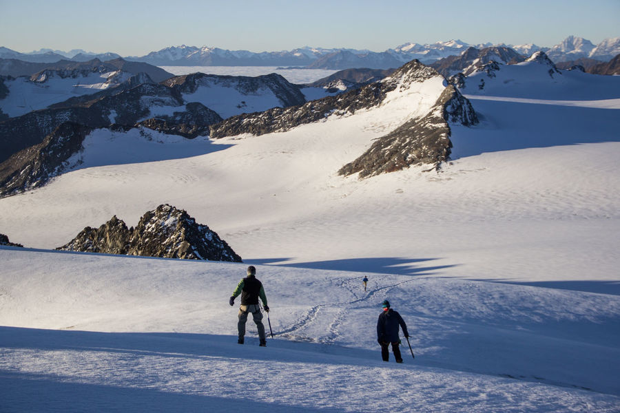Adventure Beauty In Nature Cold Temperature Frozen Landscape Leisure Activity Lifestyles Mountain Mountain Range Nature Outdoors Real People Scenics Ski Holiday Ski Pole Skiing Snow Snowcapped Mountain Sport Tranquil Scene Tranquility Vacations Weather Winter Winter Sport