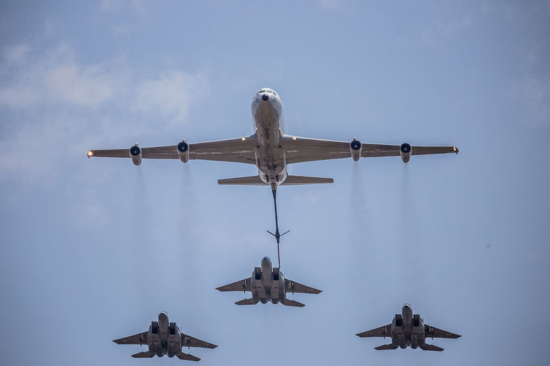 707 Air Vehicle Airplane Airshow Aviation Aviationphotography Boeing Boom Day Flight Flying IAF Israeli Air Force Low Angle View McDonnell Douglas F-15 Eagle Military No People Outdoors Refueling Sky