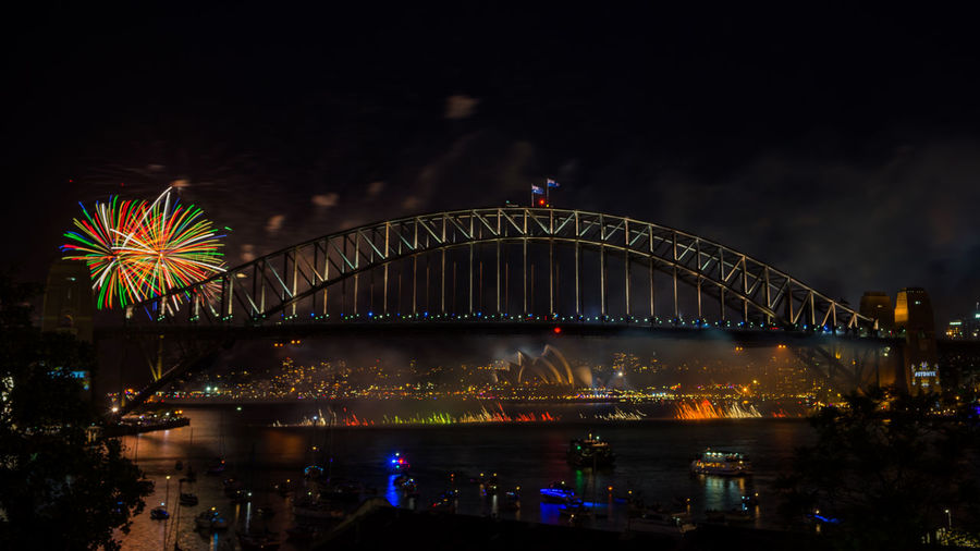 Sydney Harbour Bridge Fireworks Display during New Year eve 2017 City Cityscape Firework Display Harbor Horizontal Landscape Midnight Multi Colored New Year New Year's Eve Night No People Outdoors Sky