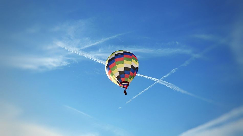Flying Low Angle View Mid-air Multi Colored Adventure Freedom Day Sky One Person Outdoors People Parachute Balloonfiesta  Balloons🎈 Balloons In The Sky Balloon Bristol, England Be. Ready.