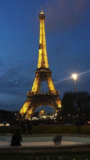 Eiffel Tower Paris Tower Architecture Built Structure Night Tall - High Sky Illuminated Travel Destinations Tourism