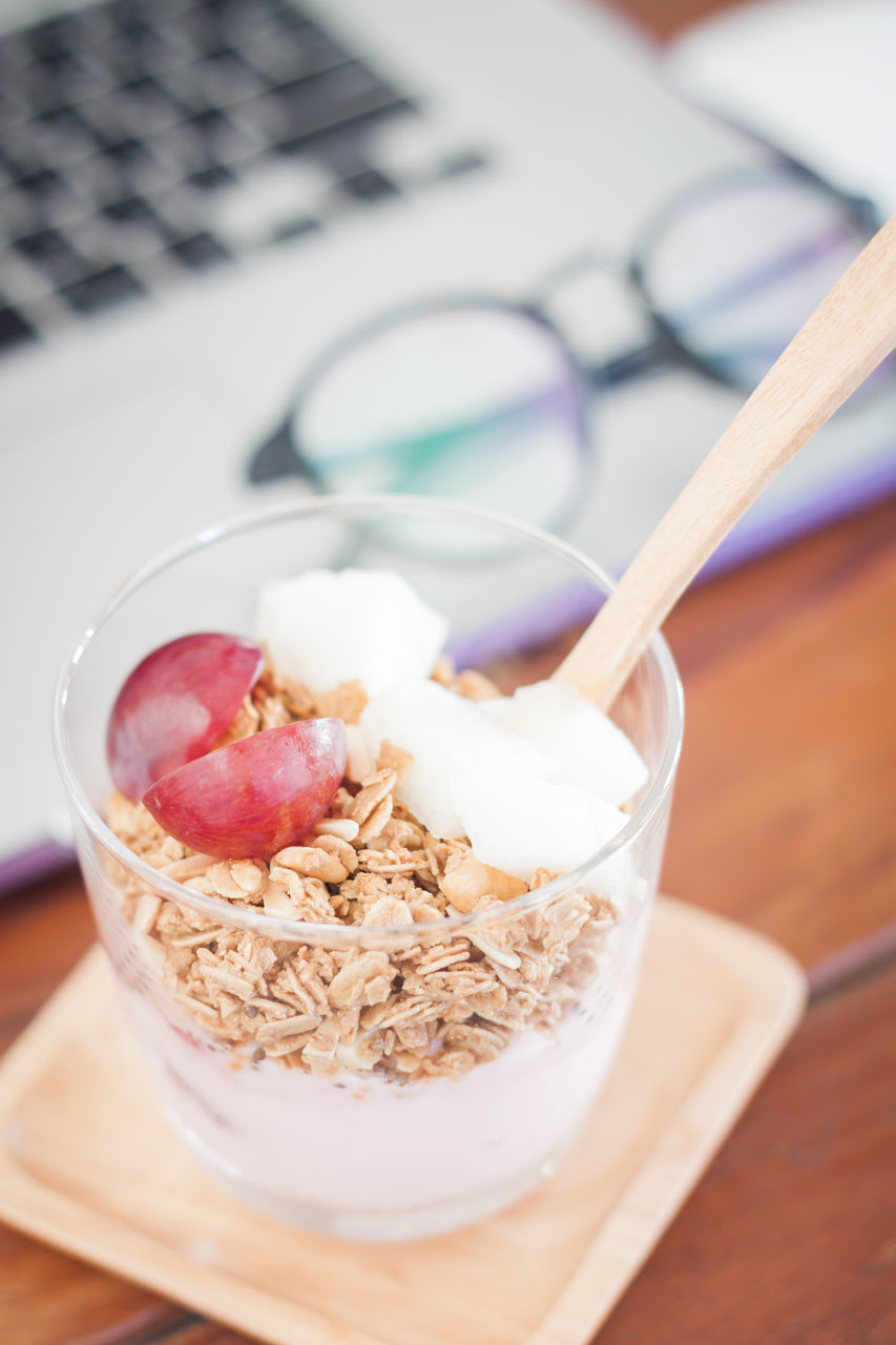food and drink, food, spoon, table, eating utensil, freshness, meal, still life, healthy eating, kitchen utensil, wellbeing, breakfast, close-up, indoors, dairy product, bowl, no people, breakfast cereal, ready-to-eat, milk, yogurt, oats - food, temptation