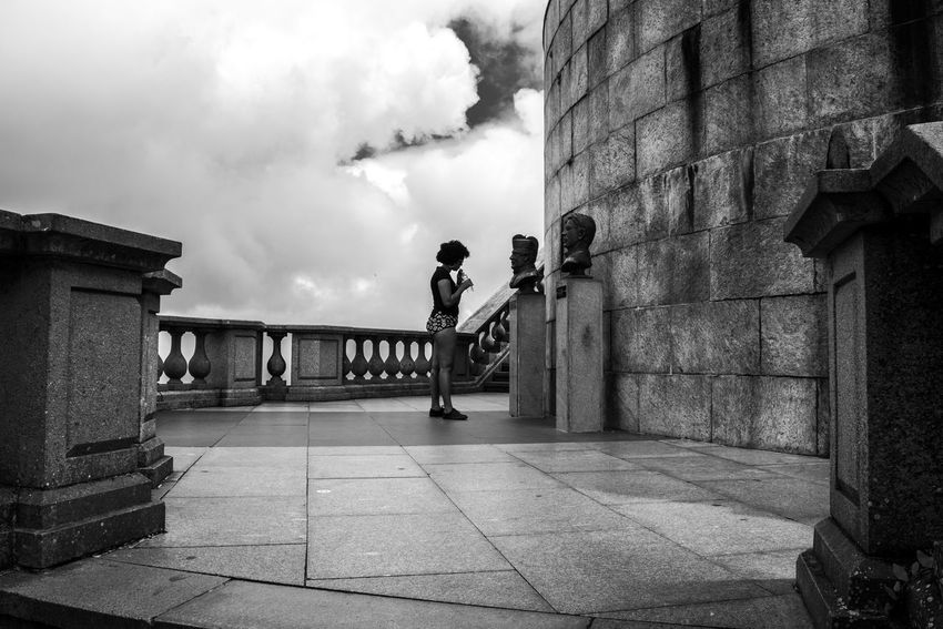 Wall Sunny Sky Clouds And Sky Clouds Heads Monument Shapes Watching Standing Blackandwhite Shape Contrast Blackandwhite Face Woman Cristo Redentor Rio De Janeiro Brazil Sculpture Architecture Built Structure Building Exterior Cloud - Sky Outdoors Sky Real People City One Person Day Colour Your Horizn