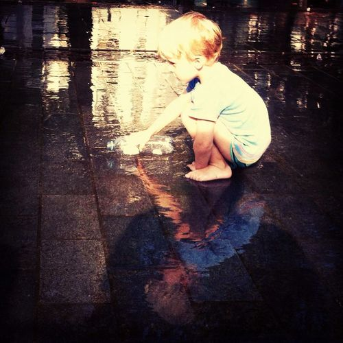 Mirror Water Wet Children Photography Boy Summer Relaxing Enjoying Life Reflections Peace And Quiet