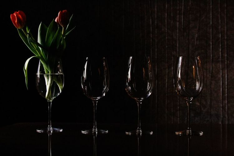 Still life with tulips and wine glasses. Still Life StillLifePhotography Flowers Showcase: March