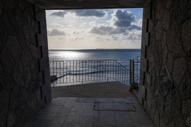 EyeEm Best Shots EyeEm Eye4photography  EyeEm Best Pics Sky Sea Horizon Over Water Scenics - Nature Cloud - Sky Nature Outdoors Tranquility Tranquil Scene Architecture Tunnel Seascape Seaside Beach Beachphotography Hand Rail