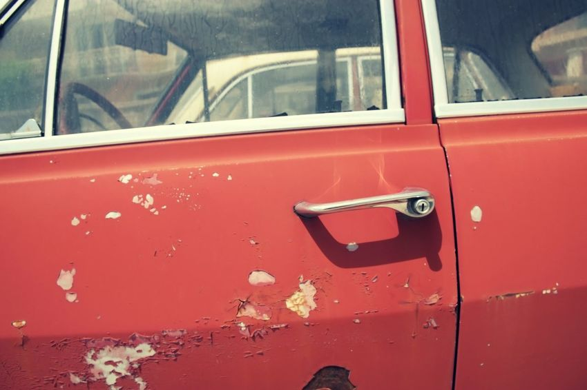 Opel Rekord EyeEm Best Shots Mode Of Transportation Transportation Land Vehicle Red Day Car Metal Window Motor Vehicle Close-up Glass - Material No People Old Car Door Full Frame Rusty