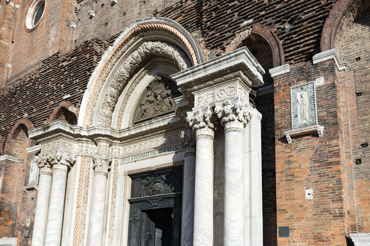 Basilica dei Santi Giovanni e Paolo Architecture Built Structure Low Angle View Building Exterior History The Past Building No People Arch Travel Destinations Day Religion Architectural Column Craft Belief Place Of Worship Carving - Craft Product Window Brick Outdoors Ornate Venice, Italy Church