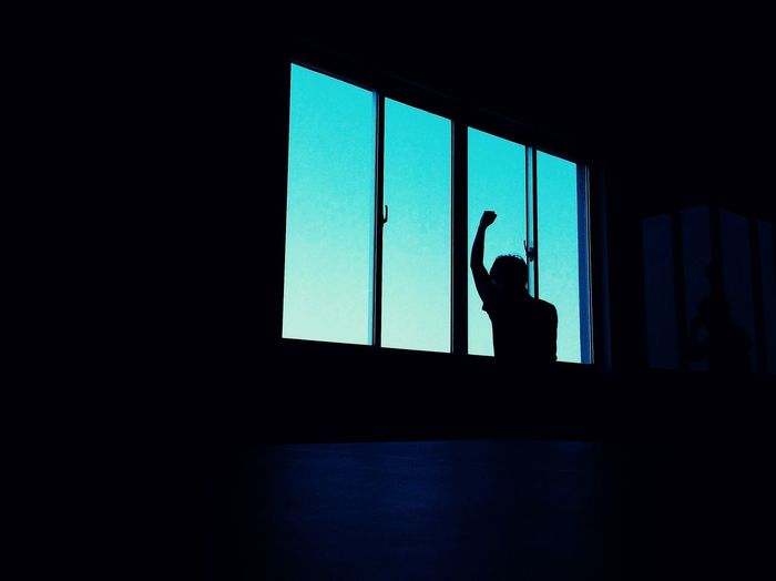 Low angle view of silhouette person standing at window