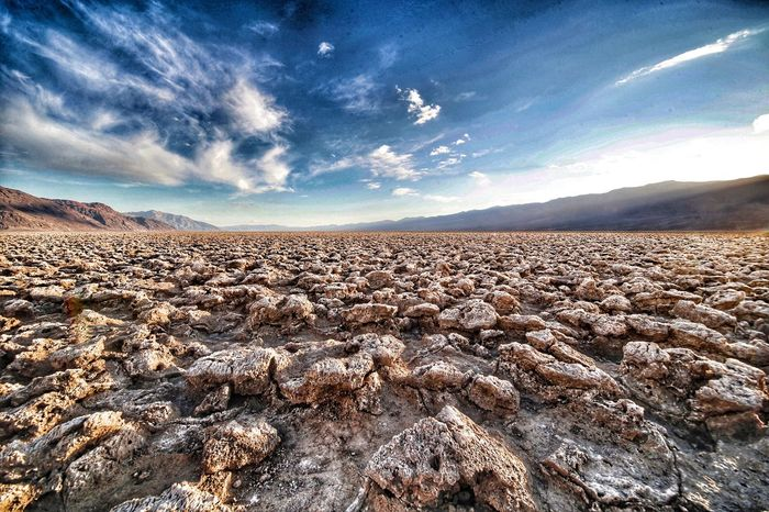 Devils Golf course, Death Valley, usa Sky Beauty In Nature Nature Cloud - Sky Landscape Scenics Tranquility Outdoors Tranquil Scene No People Day Mountain Devils Golf Course Extreme Terrain EyeEm Nature Lover Death Valley Eye4photography  Travel Photography Travel Destinations From My Point Of View Nature Tranquility