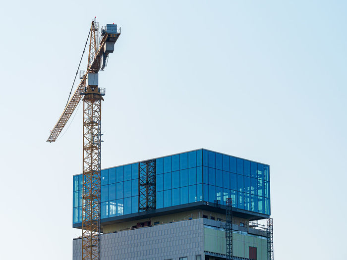 Stockholm, sweden - september 27 2020, a skyscraper with a skybar under construction