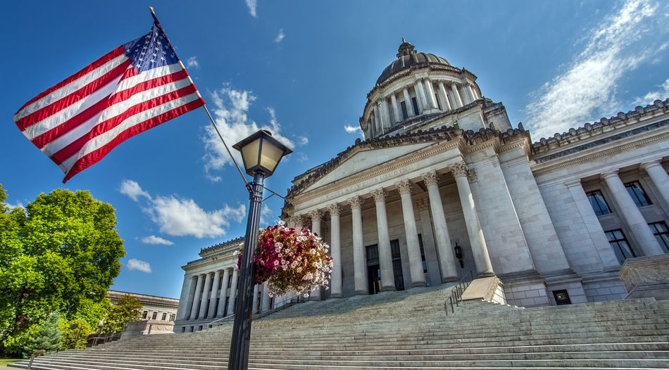 Capitol Government; Seattle State Capitol Washington State Administration Architecture Building Built Structure Capitol Building - Washington Dc Flag No People Olympia Senate Stars And Stripes