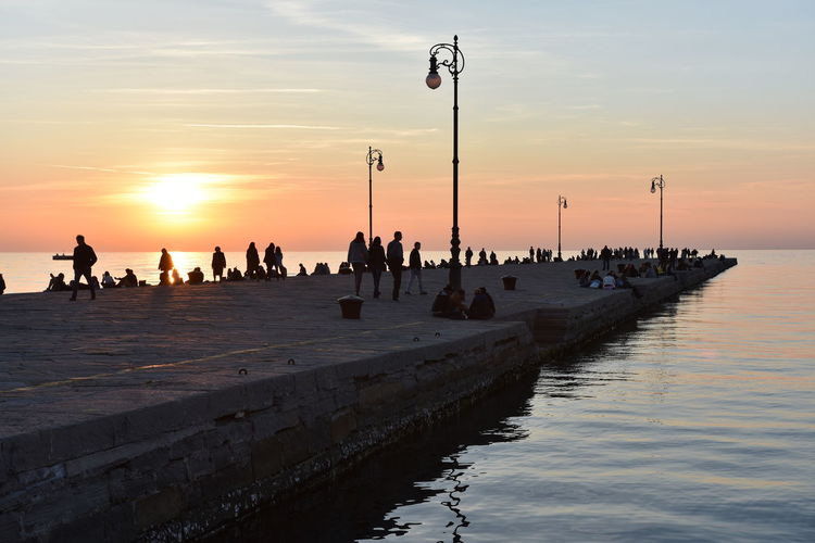Audace Golden Golden Hour Horizon Over Water Molo Perspective Pier Sea And Sky Silhouette Sunset Trieste Walking Around Colour Your Horizn