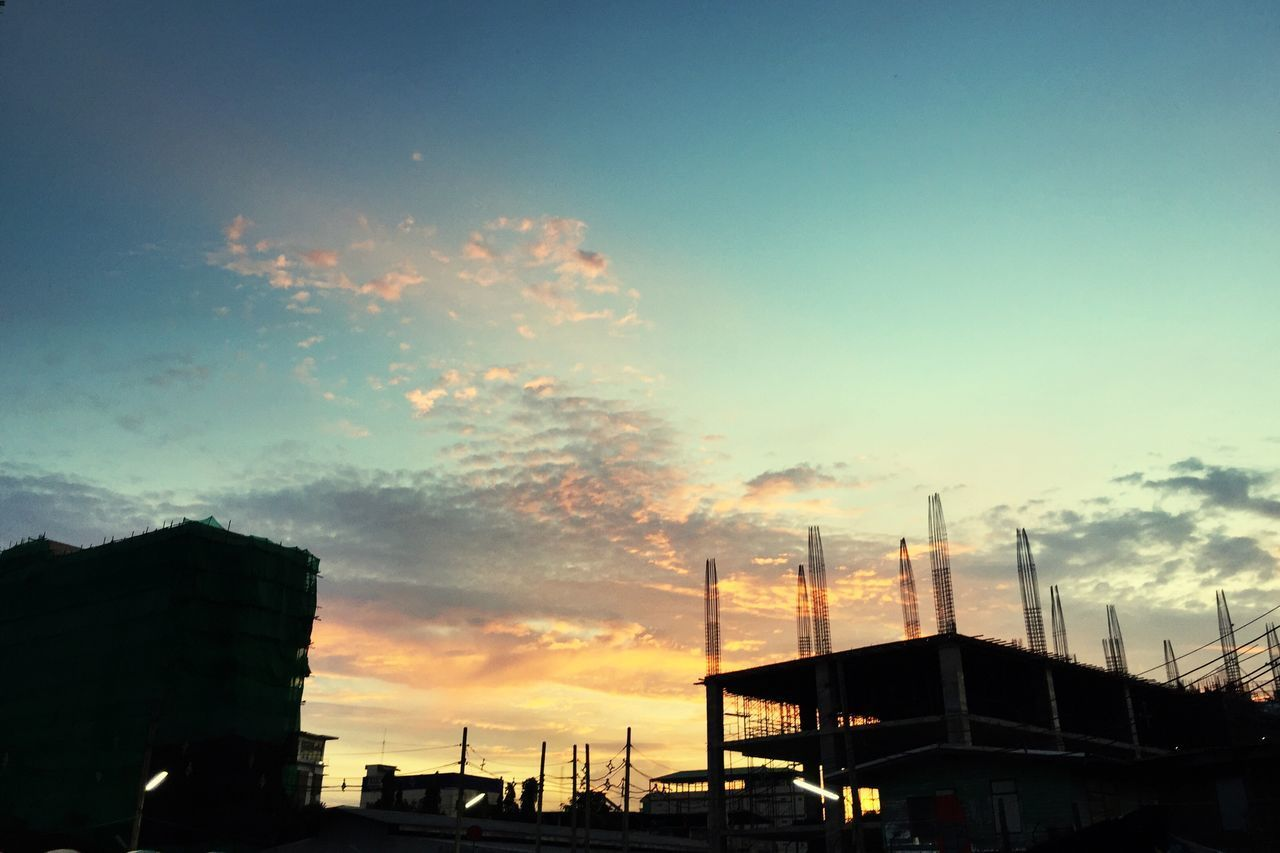 sunset, sky, built structure, architecture, building exterior, cloud - sky, silhouette, outdoors, no people, transportation, low angle view, nature, city, beauty in nature, nautical vessel, day