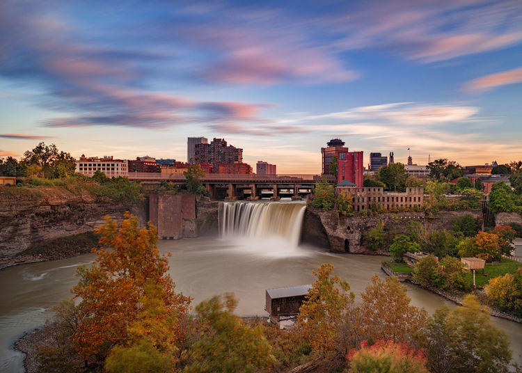 High Falls, Rochester, NY Water Architecture Sky Long Exposure Motion Built Structure Nature Plant Scenics - Nature Beauty In Nature Waterfall Sunset City Power In Nature High Falls Rochester, NY New York Rochester Autumn