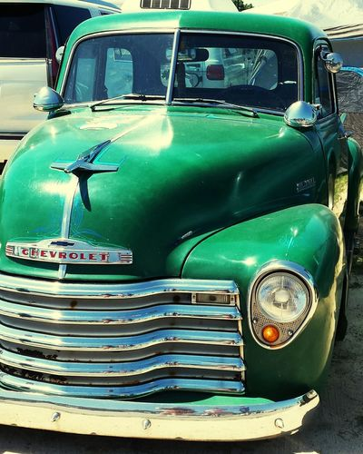 Truck Old Chevrolet Chevy Truck Green Chrome Vintage Cars Ride Vintage CarShow Steel American Made Steel Transportation