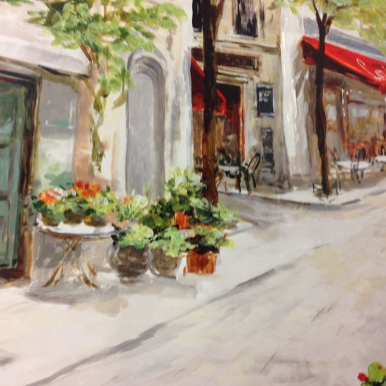 I feel like I'm walking down this street Cafe Painting Walmart Cafe