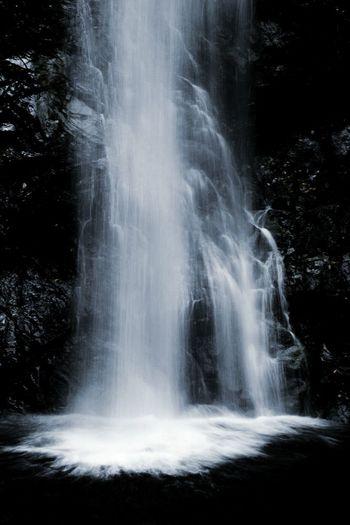 Monochrome Photography Water Waterfall Motion Vertical Splashing Nature Beauty In Nature Scenics Tokyo Japan