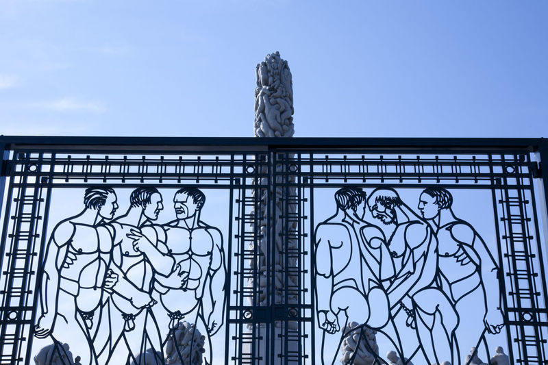 Vigeland sculpture park in Oslo Cityscape Iron Ironwork  Profile Silhouette Statue Architecture Building Exterior Clear Sky Day Door Garden Low Angle View Male Masculine Metal Metalwork Monumental  No People Outdoors Park Sculpture Sky Wrought Iron Wrought Iron Design