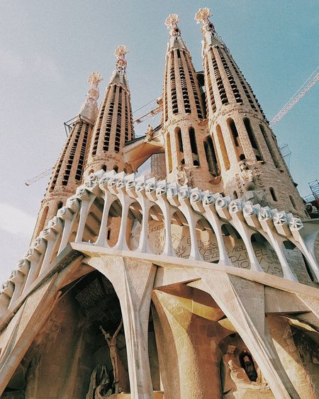 EyeEm Selects Architecture Art Gaudi Barcelona City Outdoors Architecture Built Structure Day History Travel Destinations Religion Sky Low Angle View No People Place Of Worship Close-up