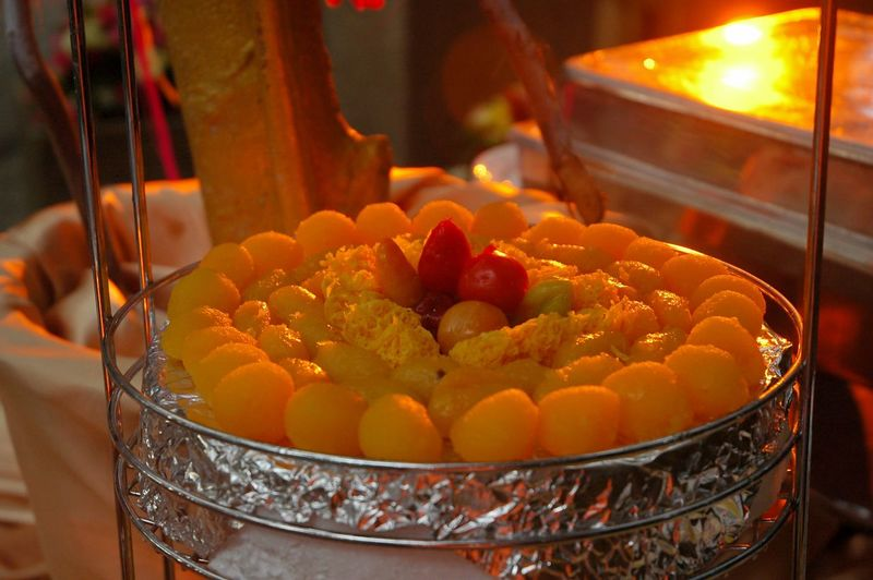 Thai desserts on stainless tray Dessert Event Party Ceremony Thong Yot Thong Yip Foy Thong Luk Chup Food And Drink Food Freshness Healthy Eating Wellbeing Focus On Foreground Close-up Bowl Orange Color Sweet Food Ready-to-eat Sweet