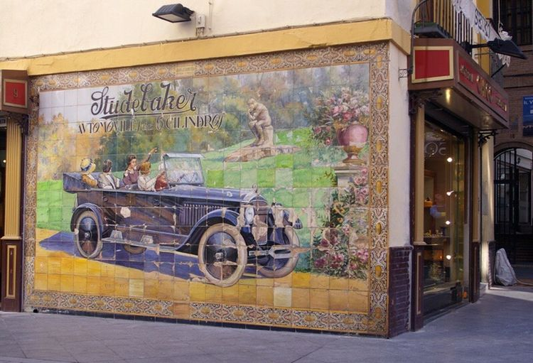 street corner in Seville . Transportation Street Mode Of Transport Building Exterior City Life Sevilla Seville Advertising
