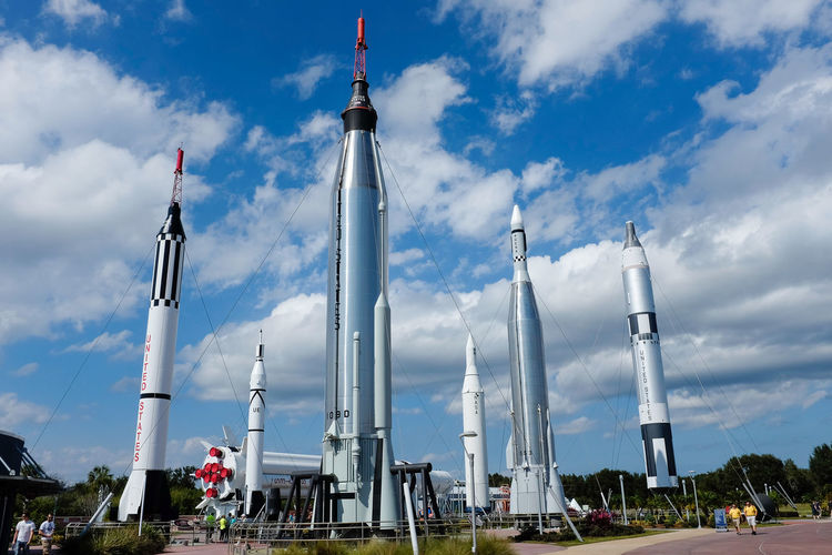 Rockets in The Rocket Garden at Kennedy Space Centre in Florida Cool Kennedy Space Center  NASA Rocket Rockets Saturn Rocket Science Tourist Attraction  Blue Sky Cloud - Sky Day Florida Museum No People Outdoors Rocket Garden Saturday Sky Space Space Exploration Tourism