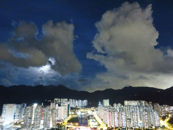 OpenEdit Night Sky Night Clouds Night Lights Moon Shadows Blue Night Moon Light Canon Powershot Sx700 Hs Hong Kong Cities At Night