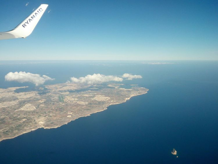 Sea Aerial View Airplane Nature Flying Scenics Blue Beauty In Nature Water No People Day Sky Travel Landscape Summer Clear Sky No Filters  Maltascapes Malta Plane Window