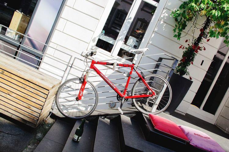 Bike Fahrrad Treppe Flasche Rot Summer Views