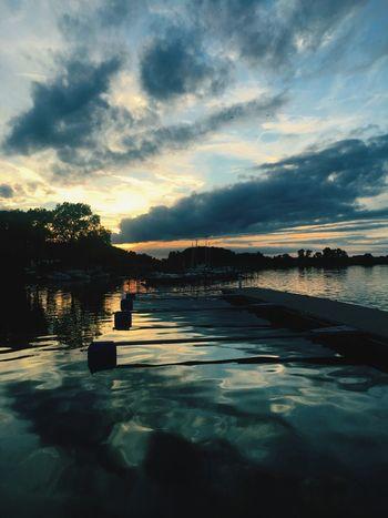 Hafen - Lassan Water Tranquil Scene Sunset Idyllic Nature Atmospheric Mood Calm Waterfront Reflection Sky