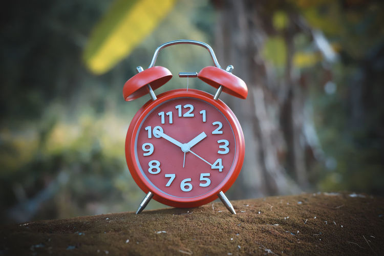 alarm clock Time Alarm Clock Clock Number Focus On Foreground Close-up Clock Face No People Red Minute Hand Single Object Day Shape Communication Geometric Shape Accuracy Circle Clock Hand Outdoors Wood - Material Hour Hand