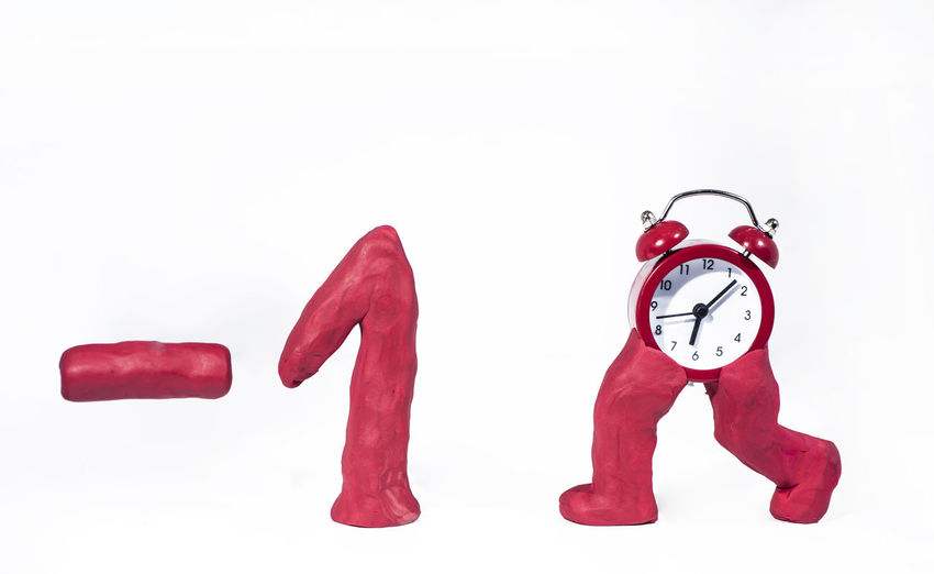 White Background Red Studio Shot Time Clock Indoors  Copy Space Alarm Clock Cut Out Still Life Group Of Objects No People Number Close-up Communication Clock Face Two Objects Three Objects Creativity White Color Minute Hand