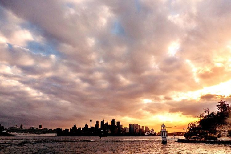 Sydney sunset. Lighthouse Sky Cloud - Sky Water Sunset Architecture Nature Building Exterior Silhouette Outdoors Beauty In Nature No People City Waterfront Scenics - Nature
