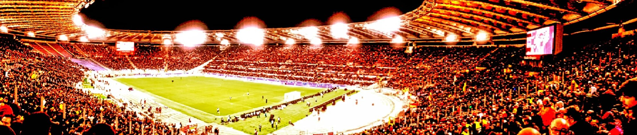 match A.S. Roma vs Real Madrid Roma Panoramic Photography Francesco Totti Stadio Olimpico A.S. Roma Rome, Italy Lights Sports Venue Match - Sport Soccer Team