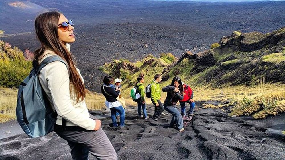 Etna...excursion..downhill to Bove's valley! Italy Sicily Catania Etna Mountain Volcano Excursion Great day Panoramic Picoftheday Relax Stopnoises Wild Greatday Nature Nature lovers Downhill Trekking Awesomeplaces Green Trees Girl Wildlife Healthylifestyle