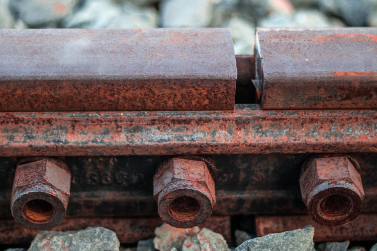 Close-up of rusty railroad track