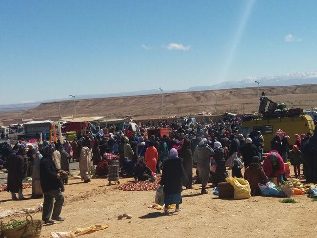 Crowd Sand Men Desert Sky Landscape