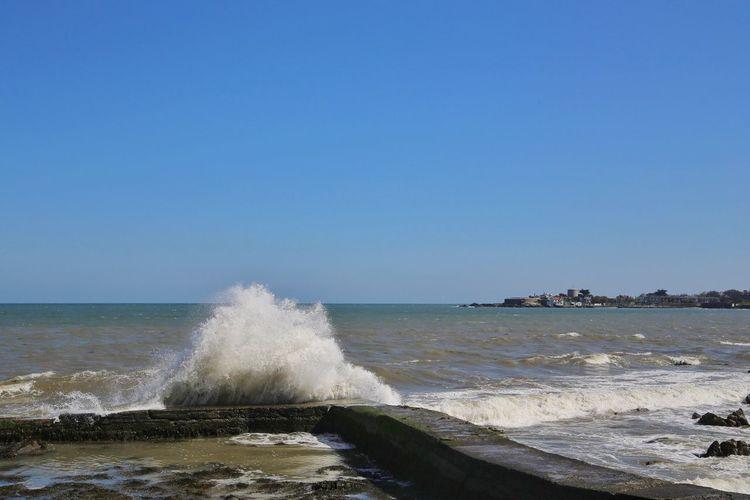 Splashing water in sea