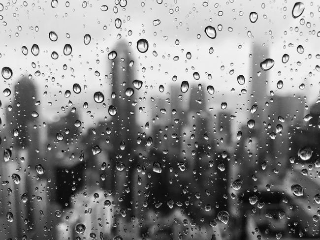 Cityscape Indoors  Day Weather Rainy Raindrops On My Window Backgrounds Abstract Purity Textured  Black & White Water Wet Full Frame No People Close-up RainDrop Urban Skyline The Architect - 2017 EyeEm Awards Black And White Friday