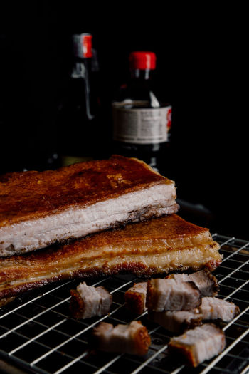 Close-up of cake on barbecue grill