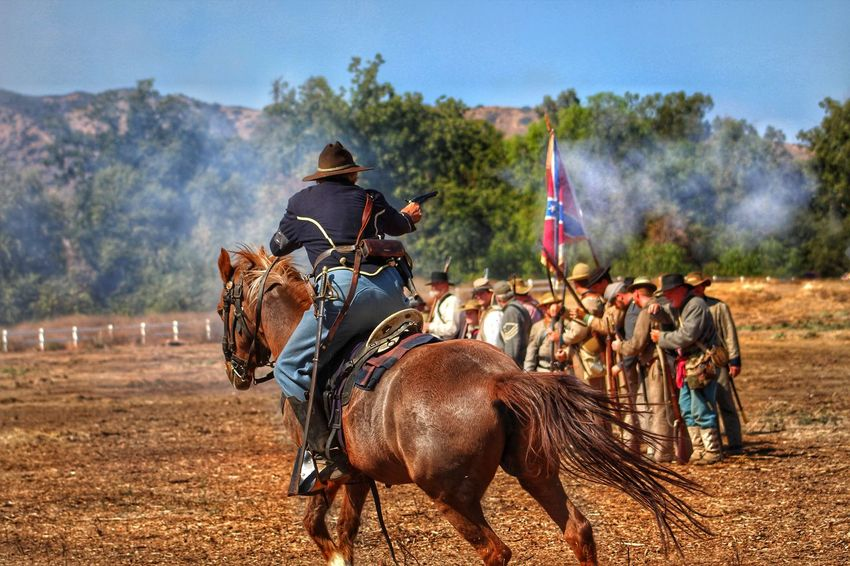 EyeEm Selects Horse Outdoors Costumes Muskets Roll Playing Civil War Re-enactments History Lesson North Verses South Confederateflag Confederate Soldiers Union Soldier Civil War History Day Reenactment