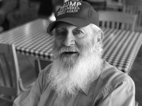 Beard Real People Senior Men Senior Adult Portrait Looking At Camera Lifestyles Trump Hat Old Man #make America Great Again Seated Restaurant Grandpa Political