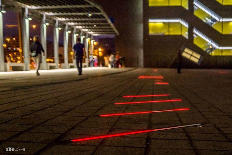 Plaça De Joan Antoni Coderch Architecture Illuminated Paving Stone Red Night City Life Barcelona