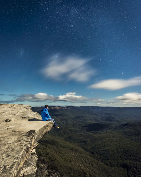 Solitude under a billion stars and the full moon. Star - Space Astronomy Milky Way One Person Space Night Sky Galaxy Long Exposure Exploration Landscape Adventure Constellation Nature NSW Australia Clouds Australia Travel Art Vacation Holiday No People Outdoors Nsw