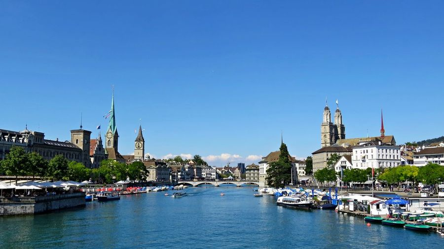 Limmat Architecture Building Exterior Built Structure City Limmat Limmatquai Outdoors River Schweiz Sunny Switzerland Travel Destinations Water Waterfront Zürich