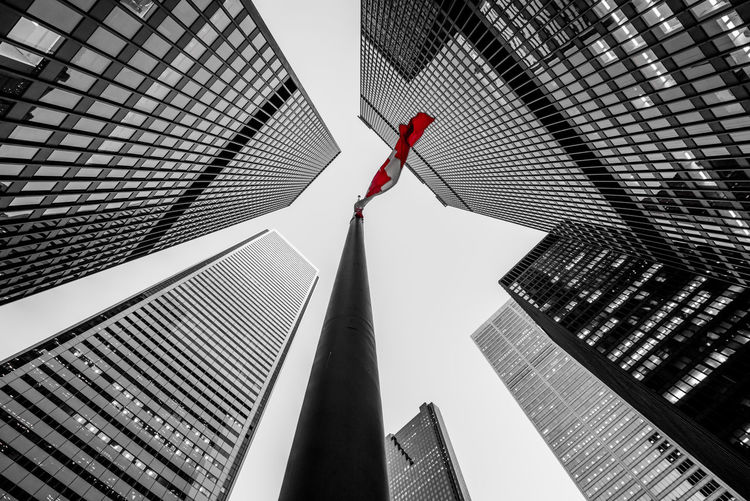 Financial district, Toronto Canada A7RII Building Canadian Flag Canal Financial District  Flag Pole Full Frame Office Building Ontario Skyscrapers Toronto Windows