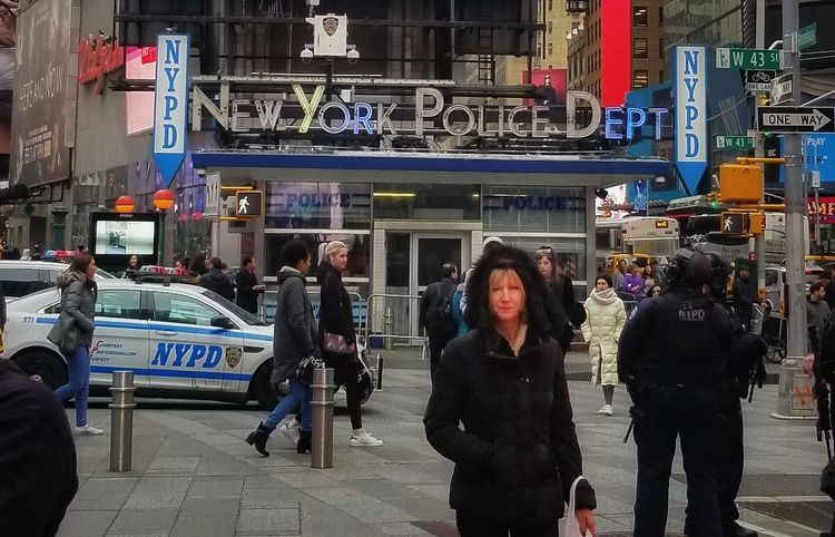New York's Finest -- Times Square Area, NYC New York Times Square NYC Neon Sign Neon Lights Façade Tones Police Business Finance And Industry People Standing Store Adults Only Women Only Women Technology City Outdoors One Woman Only Warm Clothing Day One Person